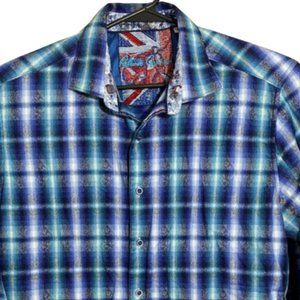 Robert Graham Long Sleeve Blue Plaid Flip Cuff